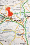 Vercelli pinned on a map of Italy Stock Photography