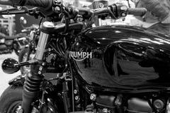 Verchroomd gestileerd deel van Triumph-motorfiets royalty-vrije stock foto
