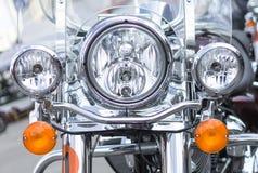 Verchroomd motorfiets vooraanzicht stock afbeeldingen