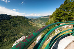 Great views along steep mountain slopes deep valleys, gorges and Royalty Free Stock Photography