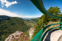 Great views along steep mountain slopes deep valleys, gorges and Royalty Free Stock Photo