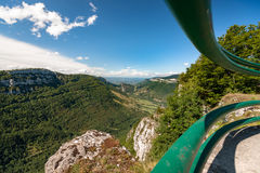 Great views along steep mountain slopes deep valleys, gorges and Stock Photos