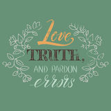 Verdad de Voltaire Love de la cita, y errores del perdón Fotografía de archivo