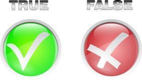 Verdad el botón falso Imagen de archivo libre de regalías