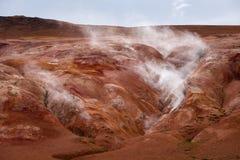 Verdampfung im geothermischen Tal, Leirhnjukur, Island lizenzfreies stockbild