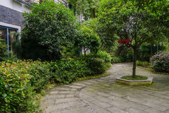 Verdant footpath before building Royalty Free Stock Images