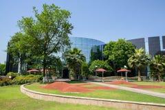 Verdant green before modern buildings in sunny summer Stock Images