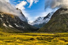 Flouresce. Verdant Hills Of The Parvati Valley, Himachal Pradesh, India Stock Images