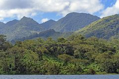 Verdant Volcanic Peaks in the Tropics Royalty Free Stock Photo