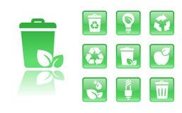 Verde-ícone-lixo Fotografia de Stock