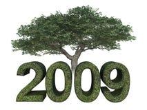 Verde 2009 com árvore Fotografia de Stock Royalty Free