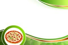 Verde abstracto de la pizza de la comida del fondo amarillo-naranja Imagen de archivo
