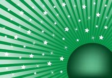 Verde abstracto del fondo con las estrellas blancas Ilustración del Vector