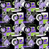 Verde abstracto inconsútil del modelo, gris, blanco, formas geométricas de la lila Imagenes de archivo