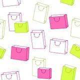 Verde abstrato do rosa do saco de compras do papel do teste padrão do fundo sem emenda Imagens de Stock Royalty Free