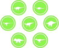 Verde ajustado do emblema redondo do dinossauro Fotos de Stock Royalty Free