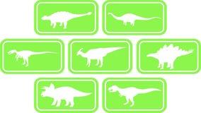 Verde ajustado do emblema retangular do dinossauro Foto de Stock