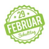 Verde alemão de Schalttag 29 Februar Stempel em um fundo branco Ilustração do Vetor