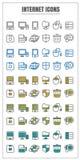 Verde amarelo azul do preto da cor do vetor do Internet dos ícones no CCB branco ilustração stock