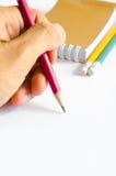Verde amarelo vermelho dos lápis, três lápis no fundo branco, lápis, profundidade rasa Foto de Stock Royalty Free
