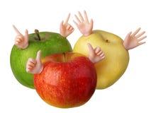 Verde amarillo rojo de las manzanas divertidas Imagen de archivo libre de regalías