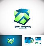 Verde azul del diseño del logotipo del cubo 3d Imagenes de archivo