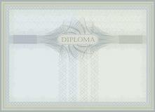 Verde azul del guilloquis del diploma Imagen de archivo libre de regalías