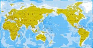 Verde azul del mapa del mundo detallado - Asia en el centro Imagenes de archivo