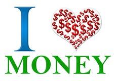Verde blu rosso dei soldi di amore Immagini Stock