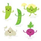 Verde bonito Pea Cauliflower Garlic Beetroot Vetora da pimenta do grupo dos desenhos animados vegetais Imagens de Stock Royalty Free