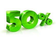 Verde brillante 50 el cincuenta por ciento apagado, venta en el fondo blanco, objeto 3D Fotos de archivo