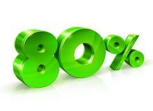 Verde brillante el 80 ochenta por ciento apagado, venta Aislado en el fondo blanco, objeto 3D Foto de archivo libre de regalías