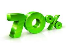Verde brillante 70 el setenta por ciento apagado, venta Aislado en el fondo blanco, objeto 3D Foto de archivo libre de regalías