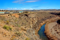 Verde Canyon River and Train Stock Image