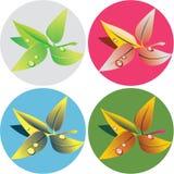 Verde-chá-deixa-popart ilustração stock
