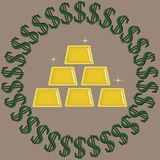 Verde con i simboli di dollaro neri che circondano i lingotti brillanti dell'oro isolati su un fondo beige illustrazione di stock