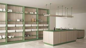 Verde costoso di lusso minimalista e fresa di legno della cucina, dell'isola, del lavandino e del gas, spazio aperto, pavimento c royalty illustrazione gratis