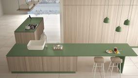 Verde costoso di lusso minimalista e fresa di legno della cucina, dell'isola, del lavandino e del gas, spazio aperto, pavimento c illustrazione di stock