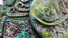 Verde d'annata di struttura della ceramica fatta a mano fotografia stock