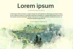 Verde d'annata Forest Nature della campagna del paesaggio royalty illustrazione gratis