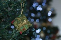 verde da caixa de presente na árvore com o espaço para escrever a mensagem do Natal fotografia de stock