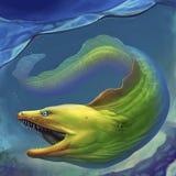 Verde da enguia de Moray Grande enguia de moray verde com boca aberta ilustração royalty free