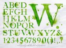 Verde de la acuarela del alfabeto Imágenes de archivo libres de regalías