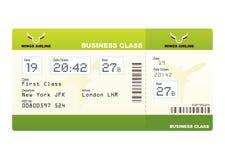 Verde de la clase de asunto de los billetes de avión Foto de archivo