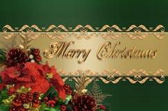 Verde de la frontera de la Navidad y satén del oro Foto de archivo