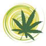 Verde de la hoja del cáñamo stock de ilustración