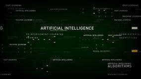 Verde de la inteligencia artificial de las palabras claves stock de ilustración