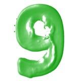 Verde de la leche del número 9 Foto de archivo libre de regalías
