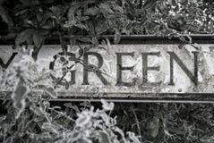 VERDE de la palabra en la placa de calle Fotos de archivo libres de regalías