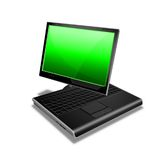 Verde de la PC de la tablilla del cuaderno Imágenes de archivo libres de regalías